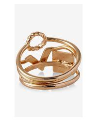 Express - Metallic Stackable Geo Shape Ring Set - Lyst