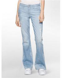 Calvin Klein - Blue Jeans Flared Leg Distressed Bourges Wash Jeans - Lyst