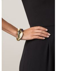 Vaubel Metallic Oval Stone Hinge Bracelet