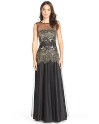 Tahari - Black Embroidered Mesh Fit and Flare Gown - Lyst