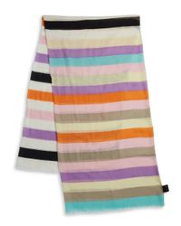 Lord & Taylor - Pink Striped Fringe Scarf - Lyst