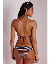 Missguided - Multicolor Contrast Stripe Bikini Multi - Lyst