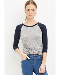 Forever 21 - Blue Burnout Knit Baseball Tee - Lyst