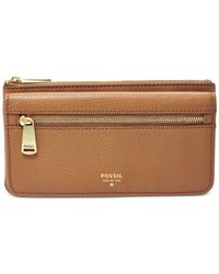 Fossil | Natural Preston Leather Flap Clutch Wallet | Lyst