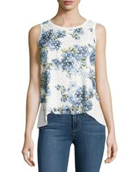 Casual Couture - White Lace-overlay Layered Tulip Tank - Lyst