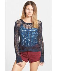 Billabong - Blue 'love For Life' Open Knit Sweater - Lyst