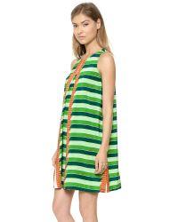 SUNO Multicolor Center Pleat Dress - Striped Panel/Placement Garden