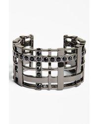 St. John | Metallic Women'S Swarovski Crystal Woven Metal Cuff - Dark Gunmetal/ Jet | Lyst