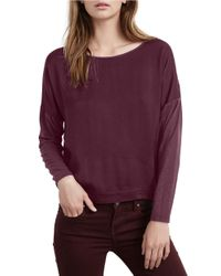 Velvet By Graham & Spencer | Purple Long-sleeved Jersey Top | Lyst