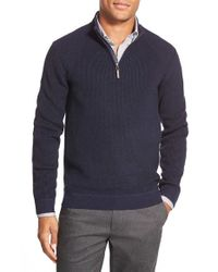 Ted Baker | Blue Ribbed Quarter Zip Pullover for Men | Lyst