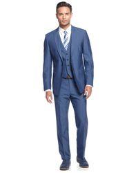 Calvin Klein | Medium Blue Vested Slim X Fit Suit for Men | Lyst