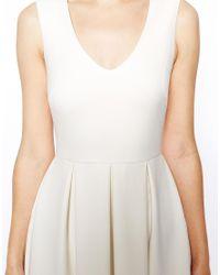 ASOS - White Structured Midi Skater Dress With V Neck - Lyst