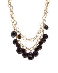 Kenneth Jay Lane | Metallic Double Row Chain Link Necklace with Bead Detail | Lyst