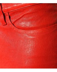 FRAME Red Le Skinny Leather Jeans
