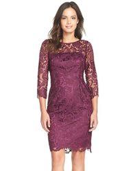 Adrianna Papell Purple Illusion Yoke Guipure Lace Sheath Dress