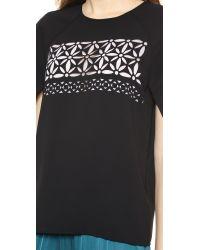 Tibi Multicolor Split Sleeve Top Black Multi