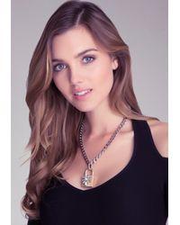 Bebe Metallic Padlock Pendant Necklace