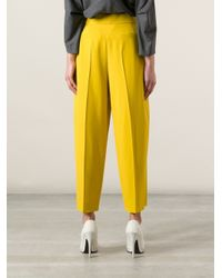 Chloé Yellow Cropped Pleated Trouser