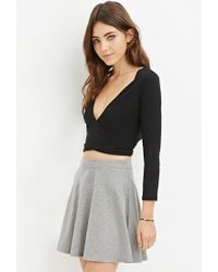 Forever 21 - Black Tie-front Wrap Crop Top - Lyst
