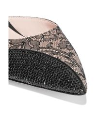 Rene Caovilla Black Embellished Lace And Leather Pumps