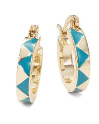House of Harlow 1960 | Blue Enamel Huggie Hoop Earrings - 0.5 In. | Lyst