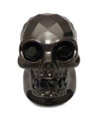 Alexander McQueen | Gray Textured Skull Ring | Lyst