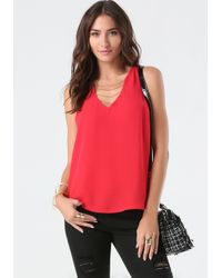 Bebe | Red Holly Chain Top | Lyst