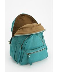 Urban Outfitters Green Leather Fleur Triangle Backpack