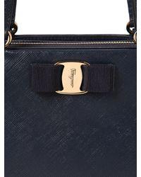 Ferragamo - Blue Tracy Saffiano Leather Tote Bag - Lyst