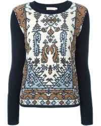 Tory Burch - Blue Printed Panel Sweater - Lyst