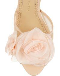 Charlotte Olympia Natural Fleur Floral-appliqued Satin Sandals