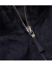 Hackett - Blue Suede Bomber Jacket for Men - Lyst