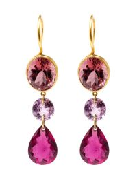 Marie-hélène De Taillac | Pink 22kt Yellow Gold Drop Tourmaline Earrings | Lyst