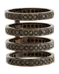 Repossi | Gray Black Diamond & Black Gold Four-row Berbere Ring | Lyst