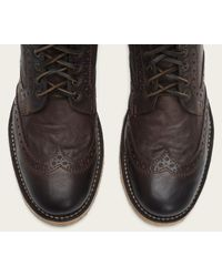 Frye | Brown Hudson Perforated Leather Boots for Men | Lyst