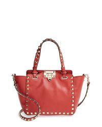 Valentino Red 'micro Mini Rockstud' Leather Tote
