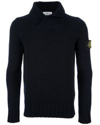 Stone Island Blue Cowl Neck Sweater for men