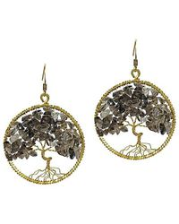 Aeravida | Metallic Eternal Tree Of Life Smokey Quartz Branch Brass Dangle Earrings | Lyst