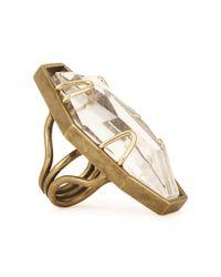 Lanvin Metallic Farida Crystal-embellished Gold Tone Ring
