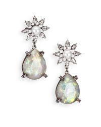 DANNIJO - Metallic Dolly Crystal & Faux Pearl Teardrop Earrings - Lyst
