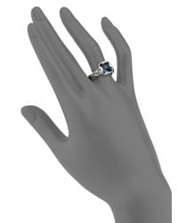 John Hardy - Classic Chain London Blue Topaz, Diamond & Sterling Silver Braided Ring - Lyst