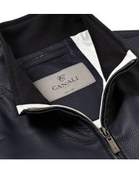 Canali | Blue Texturedleather Jacket for Men | Lyst