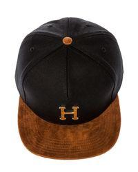 Huf Black The Gold Metal H Strapback Hat for men