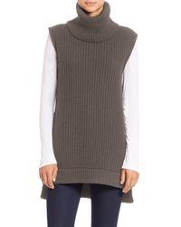 Saks Fifth Avenue | Gray Sleeveless Chunky Turtleneck Sweater | Lyst