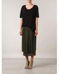 Raquel Allegra Black Frayed Hem T-shirt