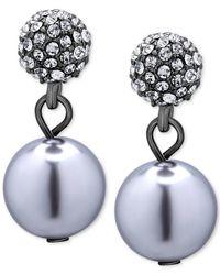 T Tahari - Blue Hematite-tone Pavé Crystal And Imitation Pearl Drop Earrings - Lyst