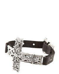 Emanuele Bicocchi | Metallic Silver Cross Leather Bracelet for Men | Lyst