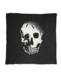 Alexander McQueen - Black Burnout Skull-printed Scarf for Men - Lyst