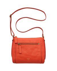 Fossil - Orange Vickery Cross Body Leather Bag - Lyst
