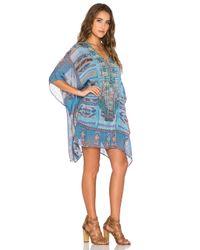 Camilla - Blue Lace-Up Printed Kaftan - Lyst